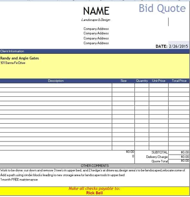 bid quote template free quotation templates estimate