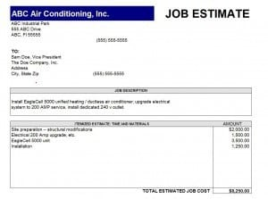 job estimate templates